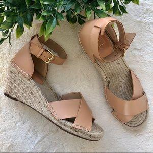 Gap tan cross over strap espadrille wedge sandals